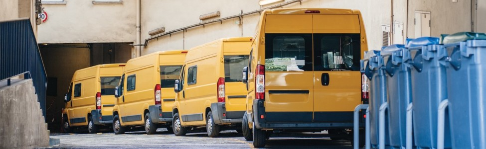 Yellow Delivery Vans Trucks Distribution